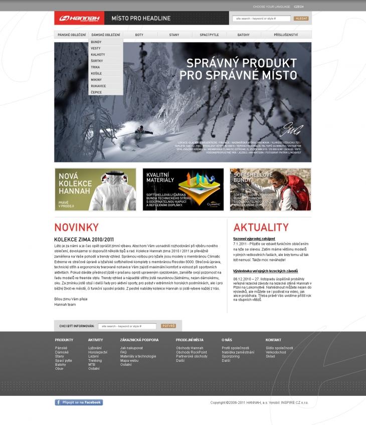 Projekt: Hannah - Návrh webových stránek