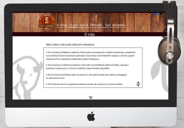 Projekt: Webdesign pro společnost PivoGrando