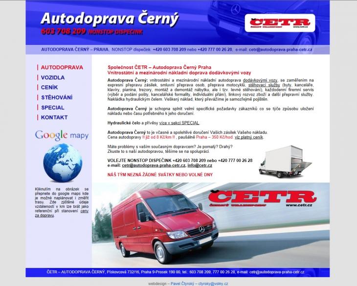 Projekt: web ČETR – autodoprava