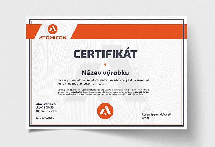Projekt: Atomicon Certifikát